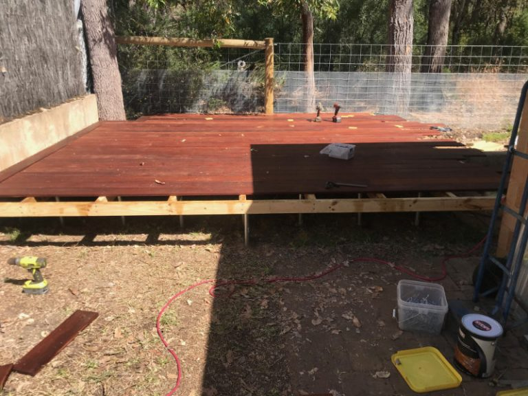 Merbau Deck half done
