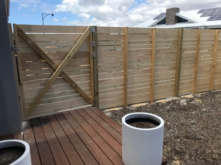 inside Slatted Fencing & Gate
