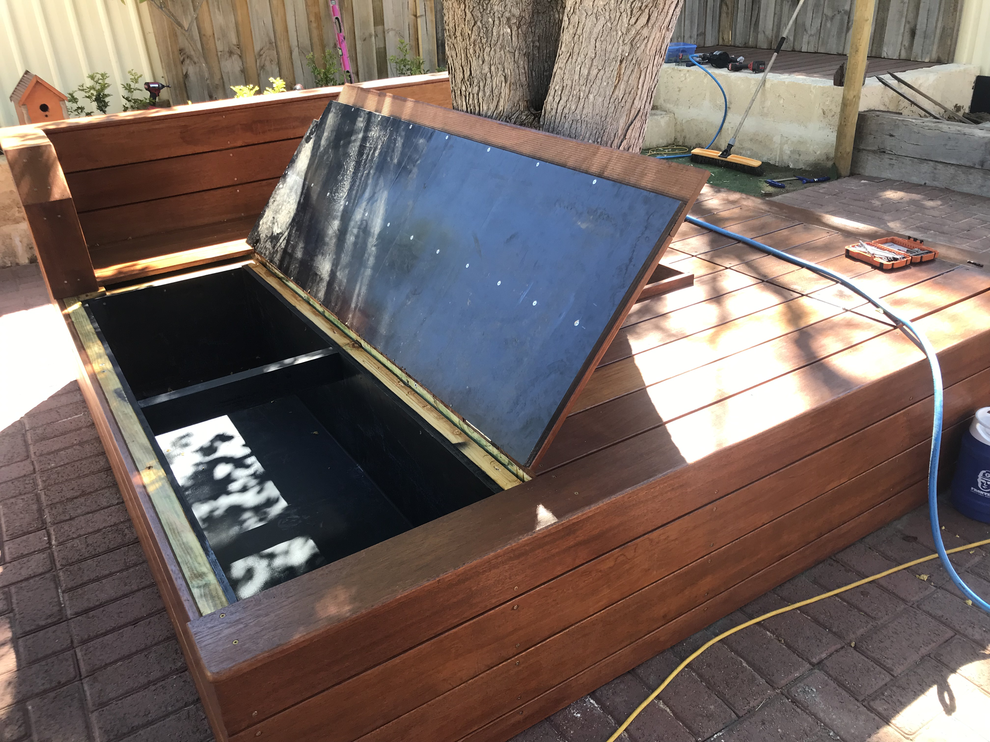 backyard wooden storage seat